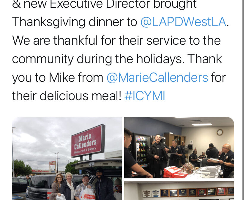 11/28/19 – FOWLA provides Thanksgiving dinner to West LAPD Officers