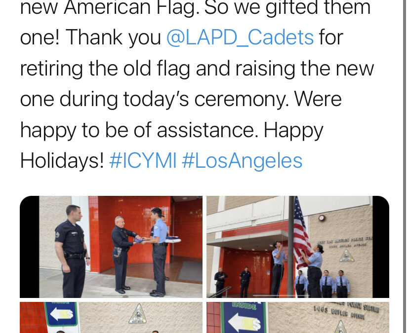 12/20/19 – FOWLA gifts West LAPD a new US Flag