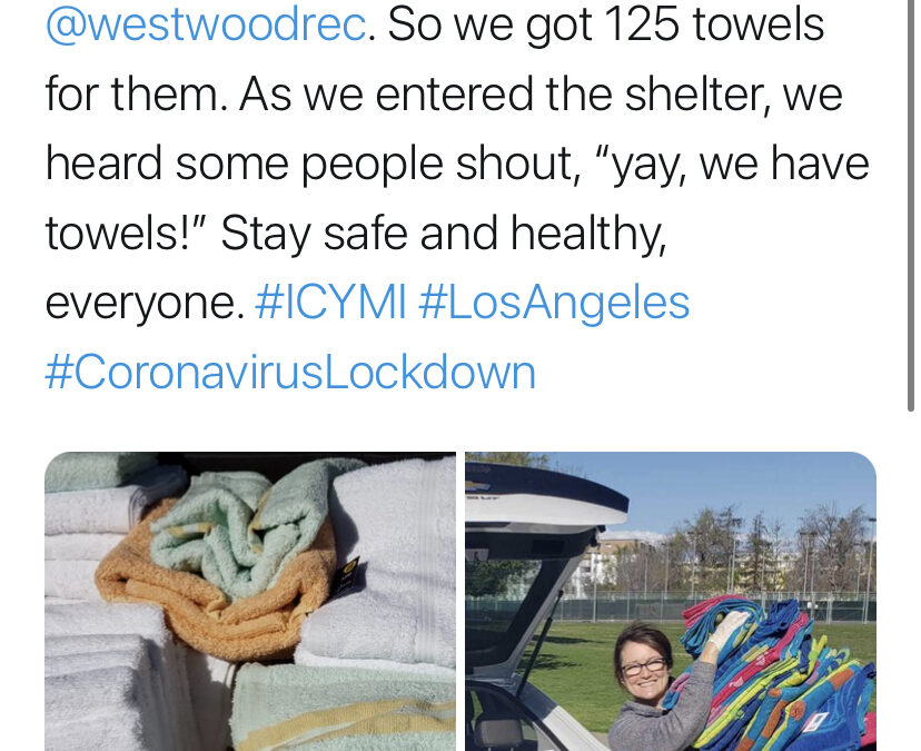 3/24/20 – FOWLA donates towels to the Westwood Recreation COVID Shelter